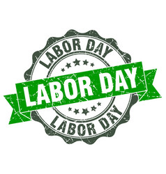 labor day stamp sign seal vector image vector image