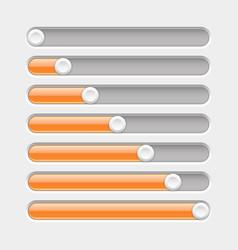 orange and gray slider bars vector image vector image