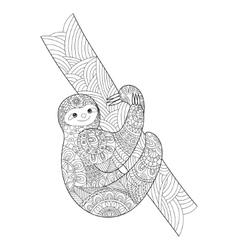 Sloth coloring book for adults vector image vector image