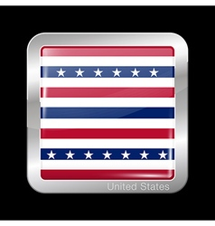Stars and stripes flag metal icon square shape vector