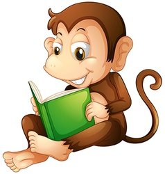 A monkey sitting while reading a book vector image vector image