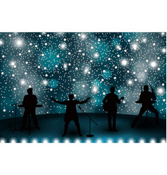 band show concept with blue light and stars set vector image