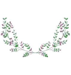 drawn watercolor greenery laurels vector image