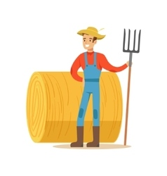 Man with fork standing next to hay stack farmer vector