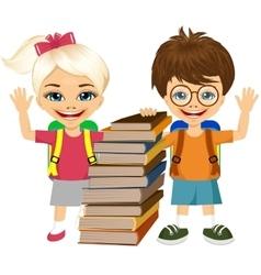 portrait of cute schoolboy and schoolgirlbooks vector image vector image