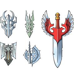 fantasy sword set vector image vector image