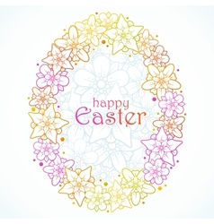 floral greeting card of easter egg vector image