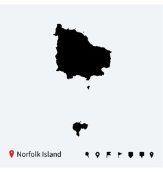 High detailed map of Norfolk Island with vector image vector image