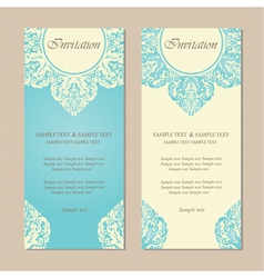 invitation vintage cards blue vector image vector image