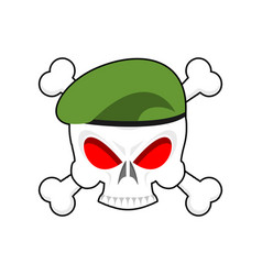 skull in beret military emblem army cap and head vector image