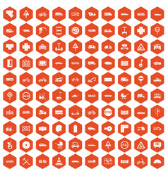 100 road icons hexagon orange vector