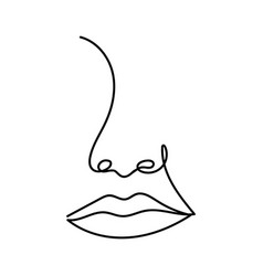 abstract continuous one line drawing woman face vector image