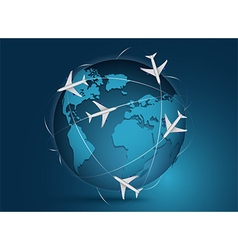Airliner with globe in white vector