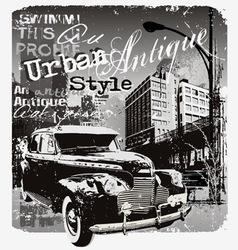 Antique car urban style vector