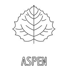Aspen leaf icon outline style vector