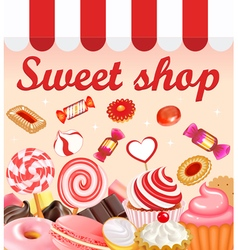 Background with sweet desserts food candy donuts vector