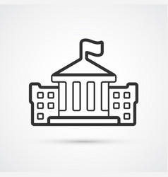 bank building flat line black icon eps10 vector image