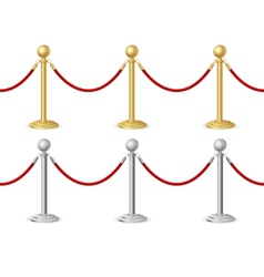 Barrier rope gold and silver vector