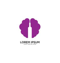 Brain wine logo design template vector