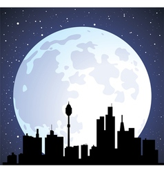 building silhouettes and moon vector image
