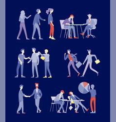 Businessmen making handshake business etiquette vector