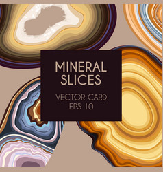 Card with geode and agate slices vector