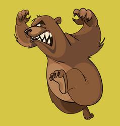 cartoon furious brown bear runs on hind legs vector image