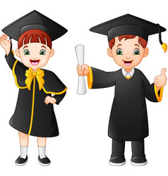 Cartoon happy kid in graduation costume vector