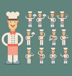 chef flat design set vector image