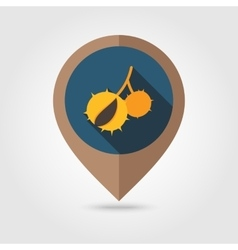 Chestnut flat mapping pin icon vector image