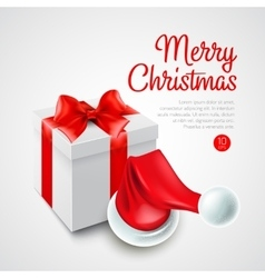 Christmas gift box and Santa hat vector image