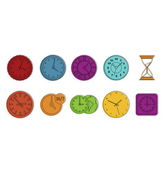 clock icon set color outline style vector image