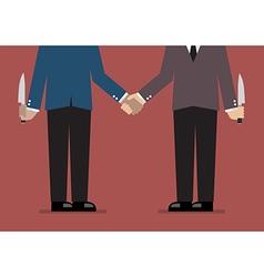 Closeup business handshake with a knife hidden vector