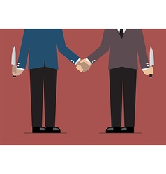 Closeup of business handshake with a knife hidden vector image