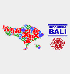 Collage bali map sign mosaic and scratched vector