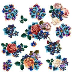 collection hand drawn flowers in watercolor vector image
