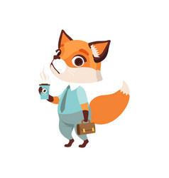 Cute fox businessman character in formal wear vector