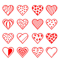 Decorative hearts set for valentines day vector