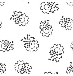 Digital gear icon seamless pattern background cog vector