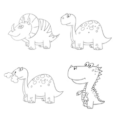 Dino set icon contour vector