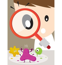 Doctor or Man use Magnifying Glass find Virus vector