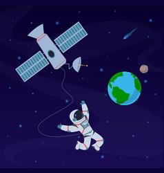 Earth with astronaut cosmonaut floating vector