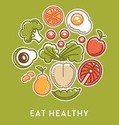 Eat healthy vegetables and fruits with fish vector