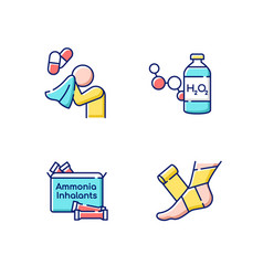 Emergency medication rgb color icons set vector