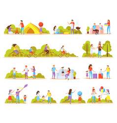 Family activities orthogonal icons vector