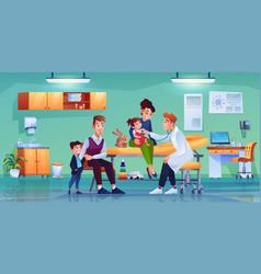 Family at pediatricians office medical checkup vector