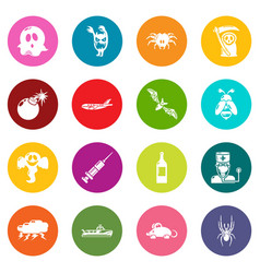 Fears phobias icons set colorful circles vector