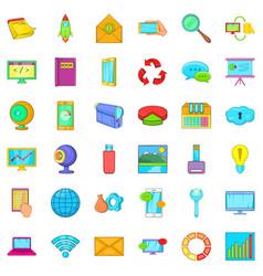 File database icons set cartoon style vector