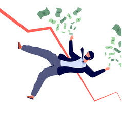 Financial crisis concept businessman falling down vector