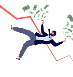 financial crisis concept businessman falling down vector image